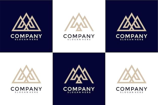 Zestaw abstrakcyjnej początkowej litery m i ikony szablonu logo dla biznesu luksusowego eleganckiego prostego