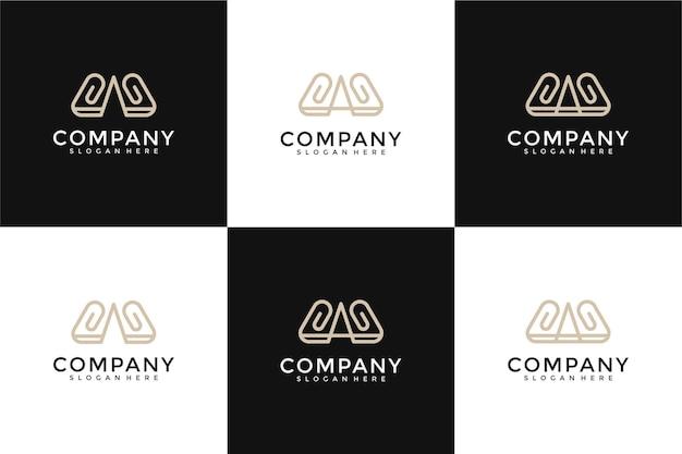 Zestaw abstrakcyjnej początkowej litery w i szablon logo