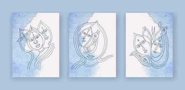 Zestaw abstrakcyjnej sztuki linii twarzy na tle akwareli