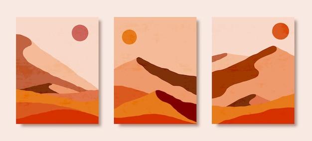 Zestaw abstrakcyjny krajobraz gór i słońca w minimalistycznym modnym stylu. tło w kolorach brązowym i pomarańczowym na okładki, plakaty, pocztówki, historie mediów społecznościowych. druki artystyczne boho.