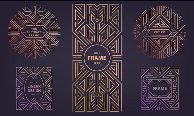 Zestaw abstrakcyjnych art deco, geometryczne, retro vintage kształty linii