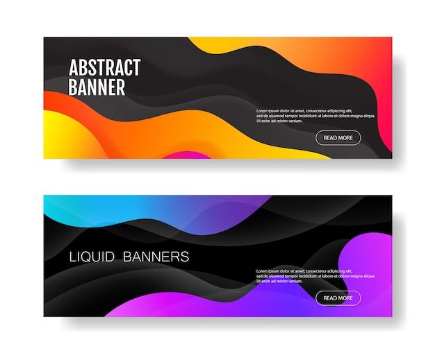 Zestaw abstrakcyjnych banerów geometrycznych z płynnymi kształtami. kolor tła gradientu. kontrastujące kolory tła pod plakaty. ilustracja wektorowa