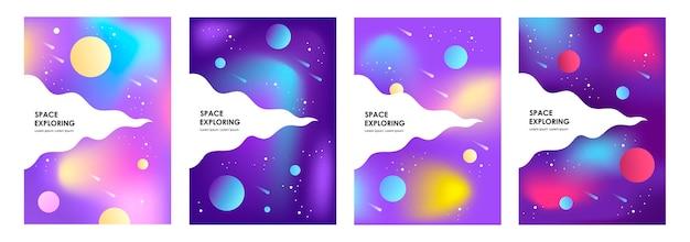 Zestaw abstrakcyjnych banerów kosmicznych