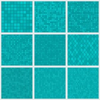 Zestaw abstrakcyjnych bezszwowych wzorów małych elementów lub pikseli o różnych kształtach w jasnoniebieskich kolorach