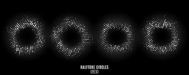 Zestaw abstrakcyjnych białych błyszczących kółek półtonów. kręgi świecące kropki.