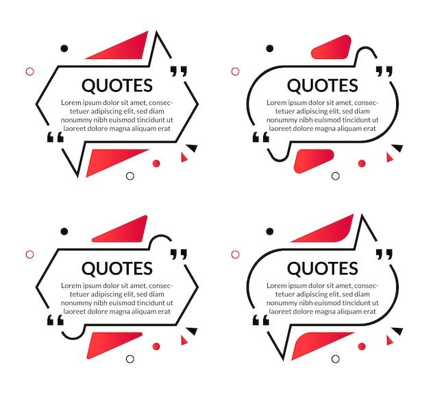 Zestaw abstrakcyjnych cytatów ramki tekstu szablonu z geometrycznym stylem memphis