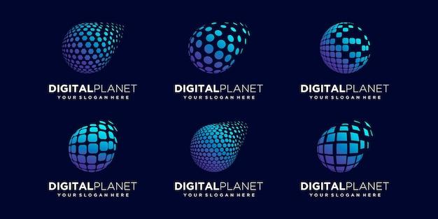 Zestaw abstrakcyjnych danych planety cyfrowy logo design wektor szablon.