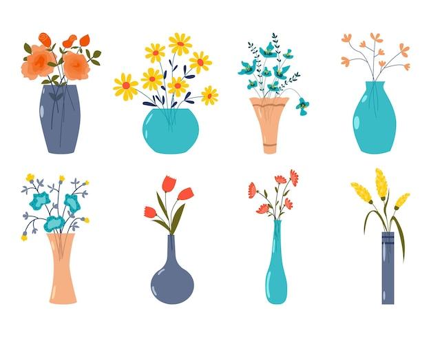Zestaw abstrakcyjnych dzikich i ogrodowych kwitnących kwiatów i ziół w wazonach