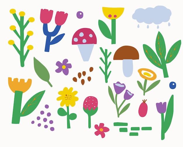 Zestaw abstrakcyjnych elementów botanicznych w prostym minimalistycznym stylu
