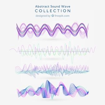 Zestaw abstrakcyjnych fal dźwiękowych z fioletowymi szczegółami