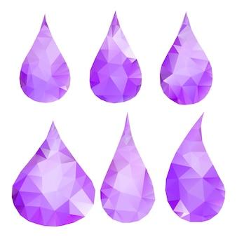 Zestaw abstrakcyjnych fioletowych kropli składający się z trójkątów
