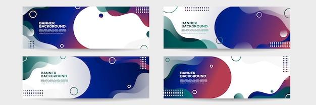 Zestaw abstrakcyjnych futurystycznych banerów z gradientowymi zielonymi, czerwonymi, niebieskimi kształtami