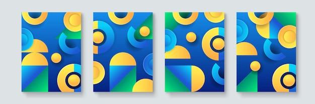 Zestaw abstrakcyjnych geometrycznych minimalnych plakatów wektorowych w stylu neo-memphis, bauhaus, vaporwave. kolekcja retro futurystycznych okładek na imprezę klubową, koncert muzyczny, promocję baru