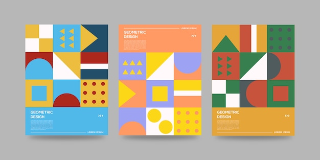 Zestaw abstrakcyjnych geometrycznych okładek
