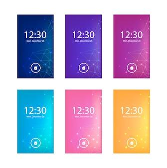Zestaw abstrakcyjnych geometrycznych tła na ekranie telefonu komórkowego