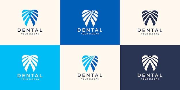 Zestaw abstrakcyjnych ikon, znaków i symboli z zębem dla koncepcji logo kliniki dentystycznej w kolorze niebieskim