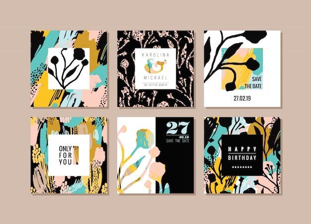 Zestaw abstrakcyjnych kart kreatywnych. ręcznie rysowane tekstury i elementy kwiatowe.