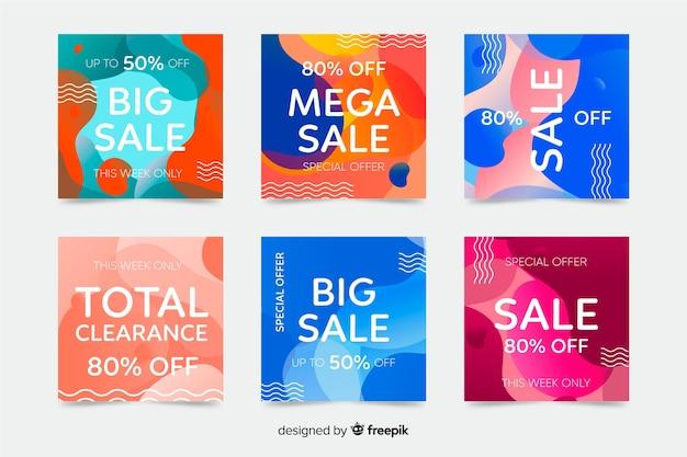 Zestaw abstrakcyjnych kolorowych kształtów postów na instagramie