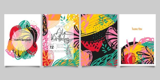 Zestaw abstrakcyjnych kreatywnych uniwersalnych szablonów artystycznych. dobry na plakat, kartę, zaproszenie, ulotkę, okładkę, baner, afisz, broszurę i inne projekty graficzne.