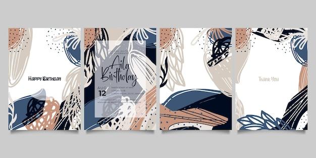 Zestaw abstrakcyjnych kreatywnych uniwersalnych szablonów artystycznych.