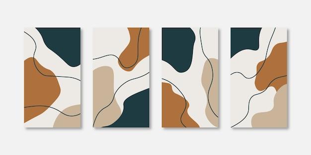 Zestaw abstrakcyjnych kreatywnych uniwersalnych szablonów projektów okładek do opowiadań na instagramie i facebooku