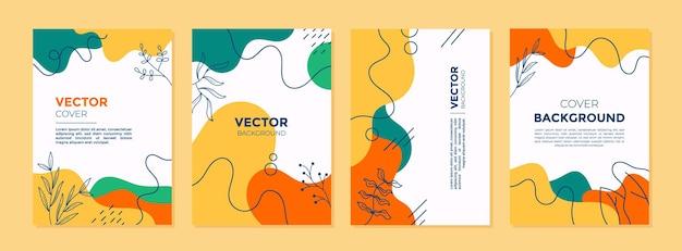 Zestaw abstrakcyjnych kreatywnych uniwersalnych szablonów projektów okładek z koncepcją natury