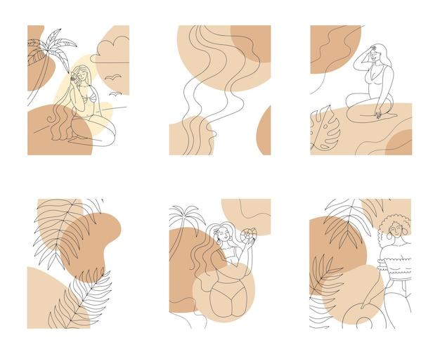 Zestaw abstrakcyjnych letnich plakatów plaża tło kobiety i palmy