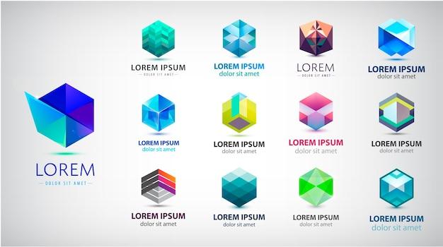 Zestaw abstrakcyjnych logo 3d, geometryczne, kolekcja kształtów sześciokąta.