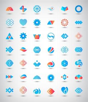 Zestaw abstrakcyjnych logo, ikon. zbiór znaków tożsamości