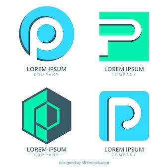 Zestaw abstrakcyjnych logo z literą p