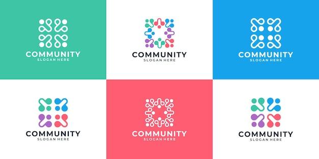 Zestaw abstrakcyjnych ludzi razem logo jedności rodziny