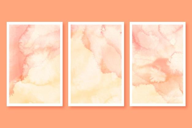 Zestaw abstrakcyjnych marmurowych kart akwarela