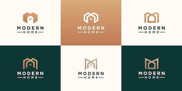 Zestaw abstrakcyjnych minimalistycznych liter m z projektowaniem logo domu