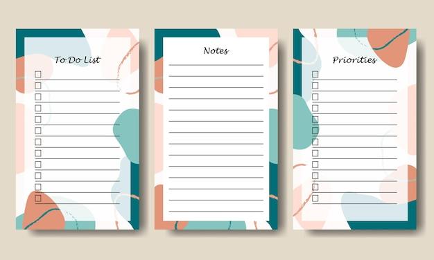 Zestaw abstrakcyjnych notatek w kształcie pasteli i listy rzeczy do zrobienia premium vector
