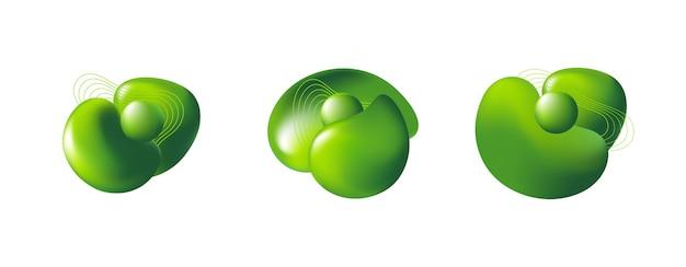 Zestaw abstrakcyjnych nowoczesnych 3d zielonych elementów