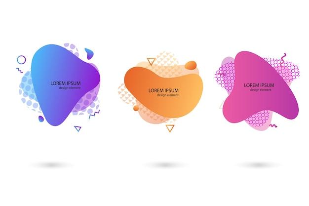 Zestaw abstrakcyjnych nowoczesnych elementów graficznych. dynamiczne kolorowe formy i linie. gradientowe abstrakcyjne banery z płynnymi kształtami. szablon do projektu logo, ulotki lub prezentacji. wektor