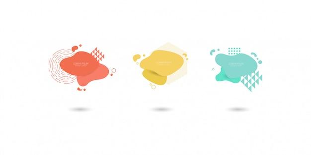 Zestaw abstrakcyjnych nowoczesnych elementów graficznych, dynamiczne kolorowe formy i linii.