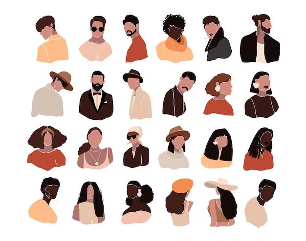 Zestaw abstrakcyjnych nowoczesnych kobiet i menavatarów