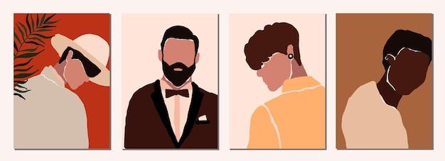 Zestaw abstrakcyjnych nowoczesnych portretów męskich postaci