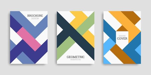 Zestaw abstrakcyjnych okładek biznesowych o geometrycznych kształtach w płaskim stylu