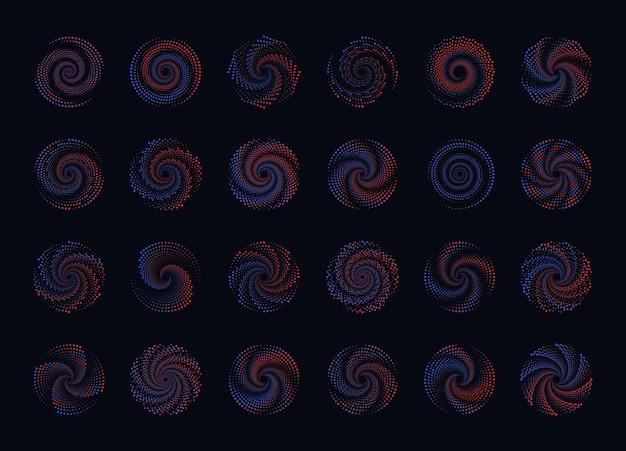 Zestaw abstrakcyjnych okręgów kropkowanych gradientu półtony okrągłe kropkowane ramki