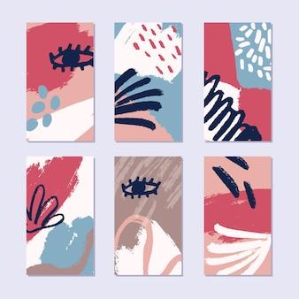 Zestaw abstrakcyjnych opowieści w modnym stylu