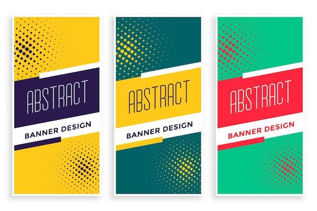 Zestaw abstrakcyjnych pionowych banerów półtonów