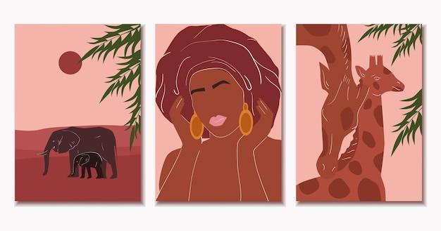 Zestaw abstrakcyjnych plakatów afrykańskich minimalizm kobieta słonie żyrafy