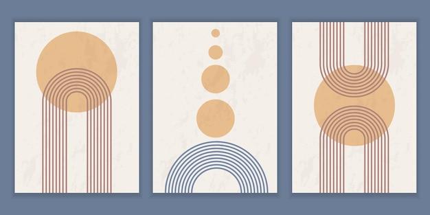 Zestaw abstrakcyjnych plakatów o geometrycznych kształtach i liniach