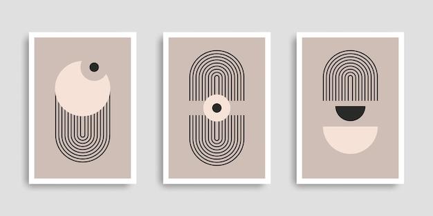 Zestaw abstrakcyjnych plakatów o geometrycznych kształtach minimalistyczna grafika ścienna