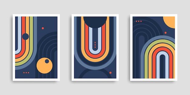 Zestaw abstrakcyjnych plakatów o geometrycznych kształtach nowoczesna grafika ścienna dla dzieci