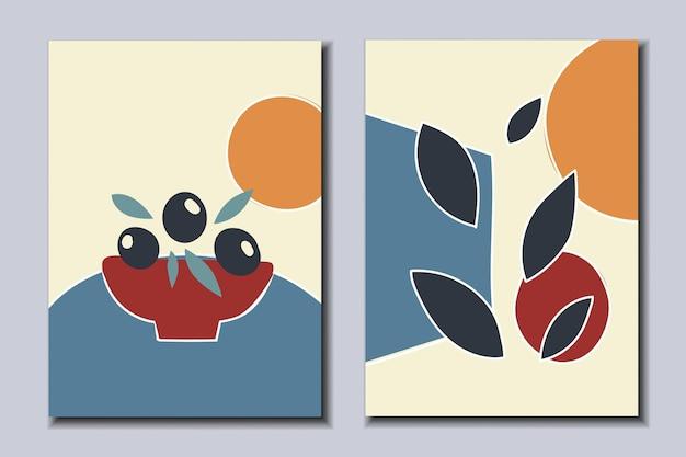 Zestaw abstrakcyjnych plakatów talerz z jagodami pozostawia ilustracji wektorowych sztuki nowoczesnej