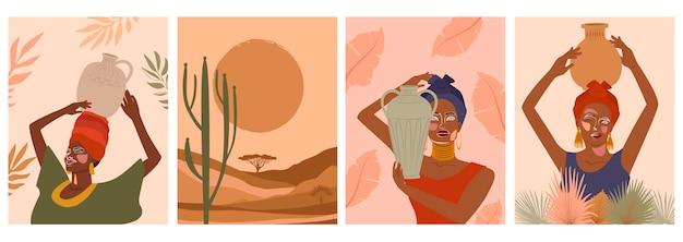 Zestaw abstrakcyjnych plakatów z kobietą w turbanie, ceramicznym wazonie i dzbanach, roślinach, abstrakcyjnych kształtach i krajobrazie.