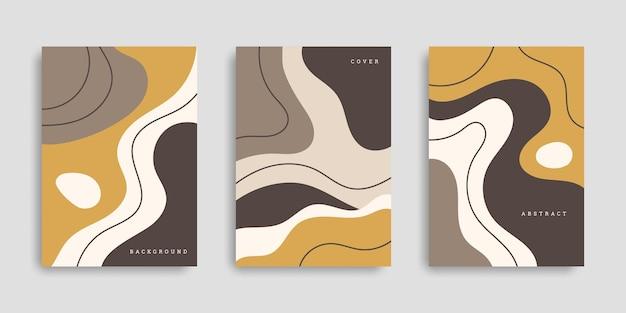 Zestaw abstrakcyjnych plakatów z płynnymi kształtami w ręcznie rysowanym stylu